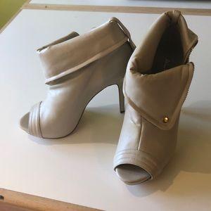 Aldo cream leather open toe booties